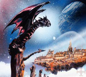 """Afbeelding bij """"Dromen tot doelen maken"""": een schilderij met een draak op een soort stam. In de verte ligt een stad"""