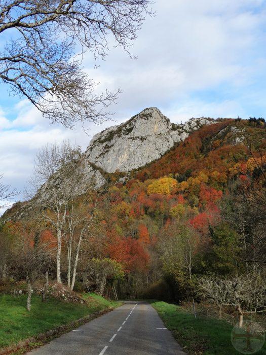 """Afbeelding bij """"Dankbaarheid"""": berg met prachtige herfsttinten met een rots"""